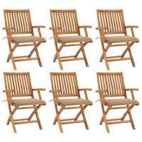vidaXL Chaises pliables de jardin avec coussins 6 pcs Bois de teck
