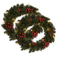 vidaXL Couronnes de Noël avec décoration 2 pcs Vert 45 cm