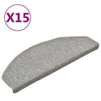 vidaXL Tapis de marches d'escalier 15 pcs Gris clair 65x24x4 cm