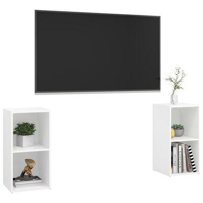 vidaXL Meubles TV 2 pcs Blanc 72x35x36,5 cm Aggloméré