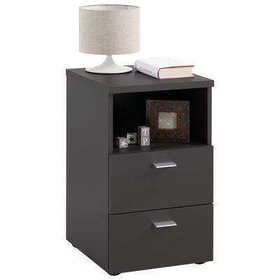 FMD Table de chevet avec 2 tiroirs et étagère ouverte Noir