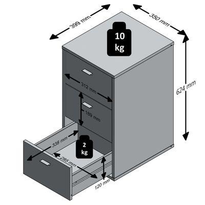 FMD Table de chevet avec 3 tiroirs Gris lave