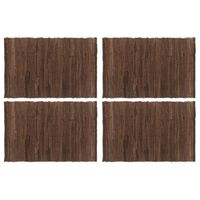 vidaXL Napperons 4 pcs Chindi Plain Marron 30 x 45 cm Coton