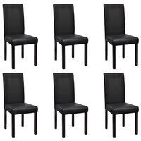 vidaXL 6 pcs Chaises de salle à manger Noir Similicuir