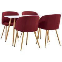 vidaXL Ensemble de salle à manger 7 pcs Tissu Rouge bordeaux