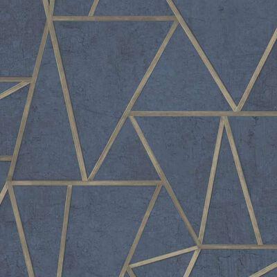 DUTCH WALLCOVERINGS Papier peint Triangles Bleu pétrole et doré