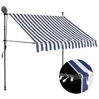 vidaXL Auvent manuel rétractable avec LED 150 cm Bleu et blanc