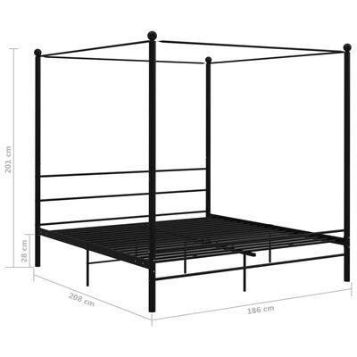 vidaXL Cadre de lit à baldaquin Noir Métal 180x200 cm