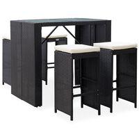 vidaXL Mobilier de bar d'extérieur 5 pcs Résine tressée et verre Noir