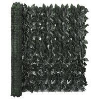 vidaXL Écran de balcon avec feuilles vert foncé 500x100 cm