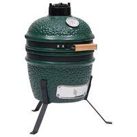 vidaXL Barbecue à fumoir Kamado 2-en-1 Céramique 56 cm Vert