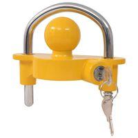 vidaXL Verrou de remorque et 2 clés Acier et alliage d'aluminium Jaune