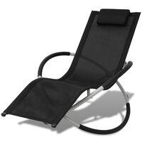 vidaXL Chaise longue géométrique d'extérieur Acier Noir et gris
