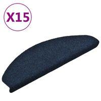 vidaXL Tapis d'escalier autocollants 15 pcs Bleu 65x21x4 cm Aiguilleté