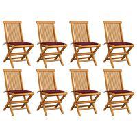 vidaXL Chaises de jardin avec coussins bordeaux 8 pcs Teck massif