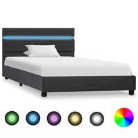 vidaXL Cadre de lit avec LED Gris Similicuir 100 x 200 cm
