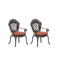 Set de 2 chaises de jardin en aluminium marron LIZZANO