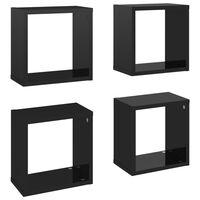 vidaXL Étagères cube murales 4 pcs Noir brillant 26x15x26 cm
