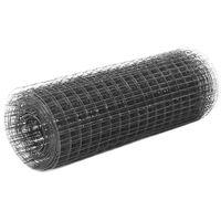 vidaXL Grillage Acier avec revêtement en PVC 25x0,5 m Gris