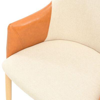 vidaXL Chaises de salle à manger 4 pcs Tissu marron et crème
