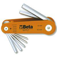 Beta Tools Ensemble de clés hexagonales coudées 96/BG7 Chrome