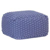 vidaXL Pouf tricoté à la main Bleu 50x50x30 cm Coton