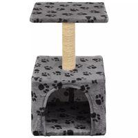 vidaXL Arbre à chat avec griffoirs en sisal 55 cm Gris Motif de pattes