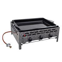 vidaXL Grill commercial à gaz 3 zones de cuisson plateau Inox Argenté