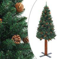 vidaXL Sapin de Noël mince avec bois véritable et cônes Vert 150cm PVC