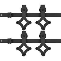 vidaXL Kits de fixation pour porte coulissante 2 pcs 183 cm Acier Noir