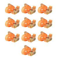 vidaXL Sangle d'arrimage 10 pcs 0,4 tonne 6 m x 25 mm Orange