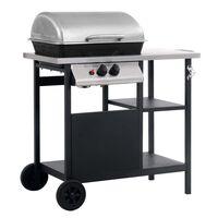 vidaXL Barbecue à gaz avec table latérale à 3 niveaux Noir et argenté