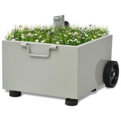 vidaXL Pot de plantes et support de parasol d'extérieur 2-en-1 Gris