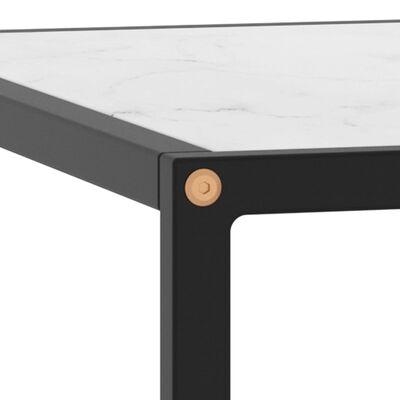 vidaXL Table basse Noir avec verre marbre blanc 60x60x35 cm