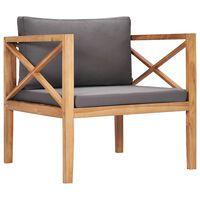 vidaXL Chaise de jardin avec coussins gris foncé Bois de teck solide