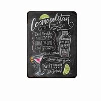 Cocktail de dessin de tableau noir vintage, boissons en métal signes