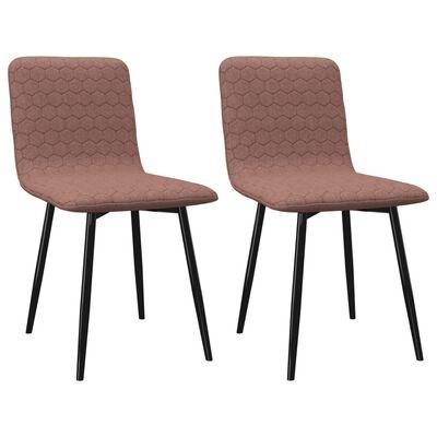vidaXL Chaises de salle à manger 2 pcs Marron Tissu