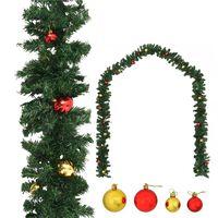 vidaXL Guirlande de Noël décorée avec boules 5 m