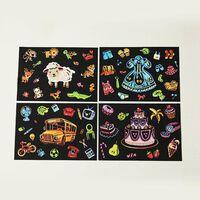 Enfants bricolage peintures à gratter dessin animé carte postale