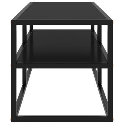 vidaXL Meuble TV noir avec verre noir 100x40x40 cm