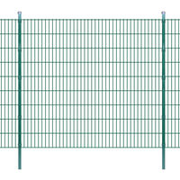 vidaXL Panneau de clôture 2D jardin avec poteaux 2008x1830mm 2m Vert