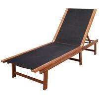 vidaXL Chaise longue Bois d'acacia solide et textilène