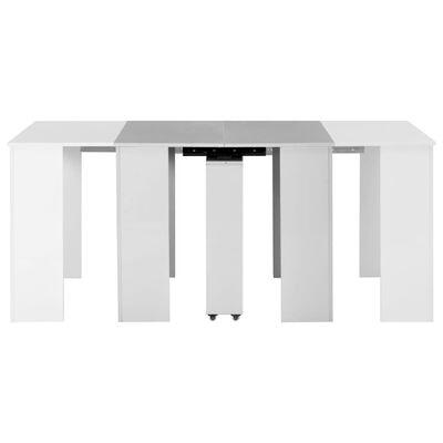vidaXL Table à dîner extensible Blanc brillant 175x90x75 cm