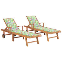 vidaXL Chaises longues 2pcs avec coussin motif de feuilles Teck solide