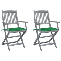 vidaXL Chaises pliables d'extérieur 2 pcs avec coussins Bois d'acacia