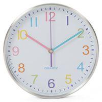 Perel Horloge murale 25 cm Blanc et argenté
