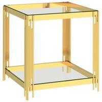 vidaXL Table basse Doré 55x55x55 cm Acier inoxydable et verre