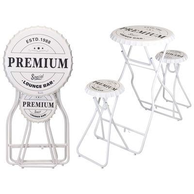 Ambiance Table de bar pliable avec tabourets Blanc