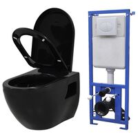 vidaXL Toilette suspendue au mur avec réservoir caché Céramique Noir