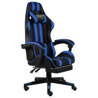 vidaXL Fauteuil de jeux vidéo avec repose-pied Noir et bleu Similicuir